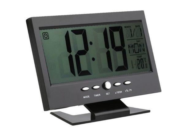 Alkış Sensörlü LED Dijital Masa Saati (Alarm+Termometre) 2
