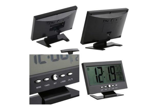 Alkış Sensörlü LED Dijital Masa Saati (Alarm+Termometre) 1