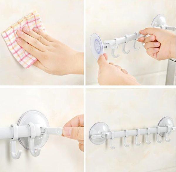 Mutfak Banyo Askısı Vantuzlu Kancalı 2