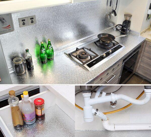 Yapışkanlı Kolay Silinebilir Mutfak Tezgah Üstü Folyo Gümüş 4