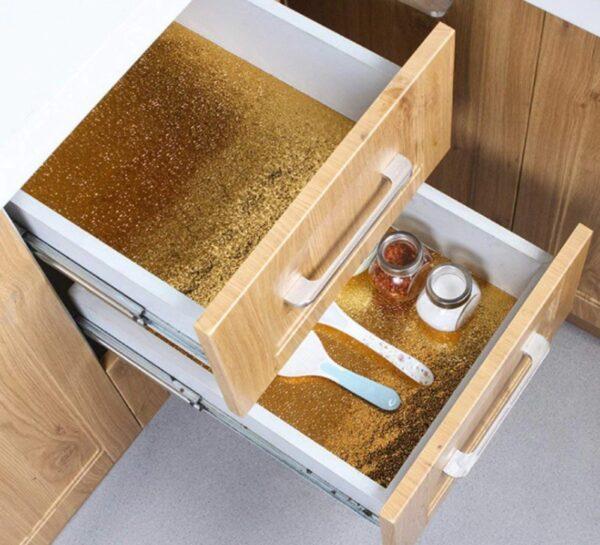 Yapışkanlı Kolay Silinebilir Mutfak Tezgah Üstü Folyo Gold 1