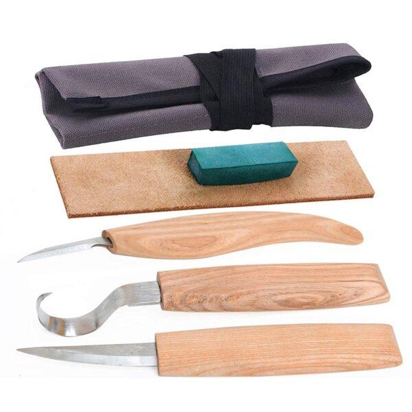 Ahşap Kaşık Kuksa Oyma Bıçağı Seti Bez Çantalı 1