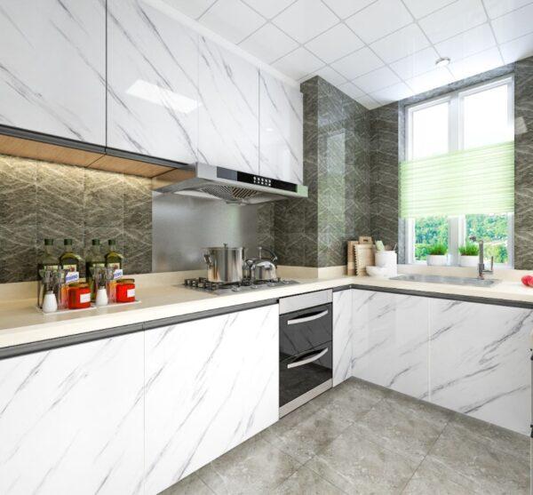 Mermer Desenli Mutfak Tezgah Üstü Yapışkanlı Folyo Beyaz 1