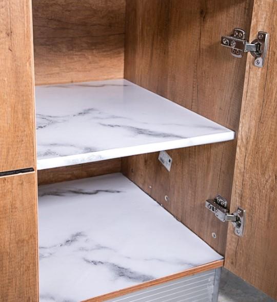 Mermer Desenli Mutfak Tezgah Üstü Yapışkanlı Folyo Beyaz 3