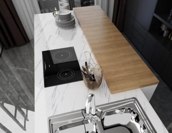 Mermer Desenli Mutfak Tezgah Üstü Yapışkanlı Folyo Beyaz 2