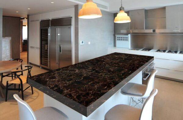 Mermer Desenli Mutfak Tezgah Üstü Yapışkanlı Folyo Kahverengi 3